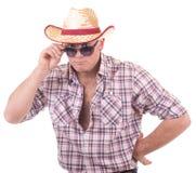 nätt man för cowboyhatt Royaltyfri Foto