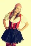Nätt piratkopiera kvinnan Arkivfoto
