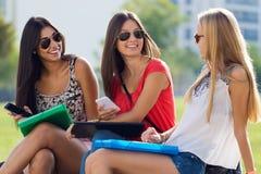 Nätta studentflickor som har gyckel på universitetsområdet Royaltyfri Foto
