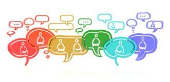 Nätverk av idéer från olikt folk (3d) Arkivbild