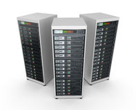 Nätverksserveror i datorhall Royaltyfri Fotografi