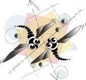 Two geometric dragonflies. Ntwo geometric dragonflies are depicted on the background of pastel geometric figures creating a composition stock illustration
