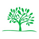 Πράσινο εικονίδιο σκιαγραφιών δέντρων ελεύθερη απεικόνιση δικαιώματος
