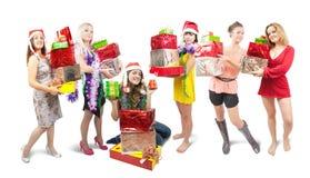 κορίτσια δώρων Χριστουγέ&nu Στοκ Φωτογραφία