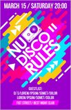 Nu Disco Rules music poster, music banner or flyer with cassette trendy colorful neon design cool elements & lettering composition. Nu Disco Rules music Royalty Free Stock Photo