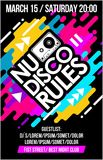 Nu Disco Rules music poster, music banner or flyer with cassette trendy colorful neon design cool elements & lettering composition. Nu Disco Rules music Royalty Free Stock Image