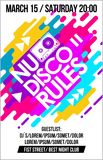 Nu Disco Rules music poster, music banner or flyer with cassette trendy colorful neon design cool elements & lettering composition. Nu Disco Rules music Stock Photo