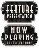 Nu spela tecken för stort festtält för särdragpresentationsfilm stock illustrationer