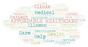 Nuage abordable de mot de soins de santé illustration libre de droits