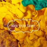 Nuage abstrait de vecteur Encrez le tourbillonnement dans l'eau, nuage d'encre Peintures abstraites de bannière Vue de Holi avec  Photos libres de droits