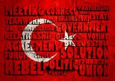 Nuage adroit de mots sur le drapeau national de la Turquie Photographie stock libre de droits