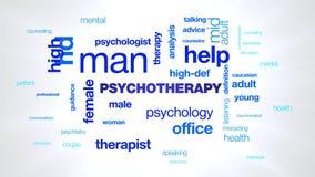 Nuage animé de mot d'homme de psychologie de psychothérapie de thérapie d'aide de thérapeute de définition élevée masculine femel banque de vidéos