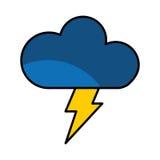 nuage avec l'icône d'isolement par signe de climat de rayon Photo libre de droits