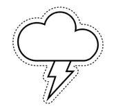 nuage avec l'icône d'isolement par signe de climat de rayon Images libres de droits