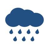 Nuage bleu de vecteur avec la pluie de chute au-dessus du blanc Images libres de droits