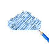 Nuage bleu dessiné avec le crayon Image libre de droits