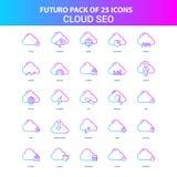 25 nuage bleu et rose SEO Icon Pack de Futuro illustration stock