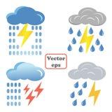 Nuage bleu réglé avec les foudres et l'icône de pluie L'illustration de bande dessinée du nuage bleu avec des foudres et la pluie illustration stock