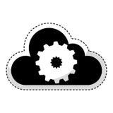Nuage calculant avec l'icône d'isolement par machine de vitesse Images libres de droits