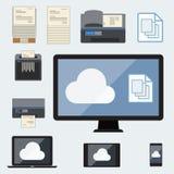 Nuage calculant avec le stockage de documents Illustration Libre de Droits