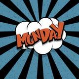 Nuage comique de bande dessinée de lundi des textes rétro Photos libres de droits