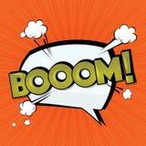 Nuage comique de vecteur de boom Étiquette drôle d'art de bruit Boom de lettrage, bombe Effets sonores comiques des textes La par illustration stock
