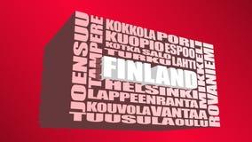 Nuage d'étiquettes d'emplacements de la Finlande Images libres de droits