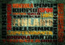 Nuage d'étiquettes d'emplacements de la Finlande sur le contexte grunge Photo stock