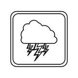 nuage d'emblème avec l'icône de rayon Photo stock