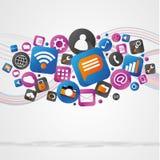 Nuage d'icone de technologie sur un fond blanc Images stock