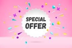 Nuage de bulle de livre blanc avec la vente d'offre spéciale des textes, bannière de achat de promo, conception de remise Affiche photos libres de droits