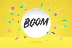 Nuage de bulle de livre blanc avec le boom des textes pour l'émotion, motivation, conception positive Affiche avec l'entretien de photos stock
