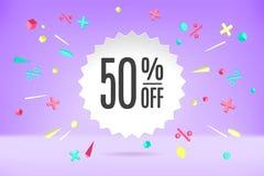 Nuage de bulle de livre blanc avec le texte 50 en vente, bannière de achat de promo, conception de remise Affiche de vecteur avec photo stock