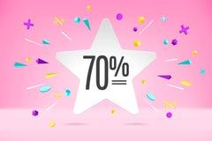 Nuage de bulle de livre blanc avec le texte 70 en vente, bannière de achat de promo, conception de remise Affiche de vecteur avec photo libre de droits