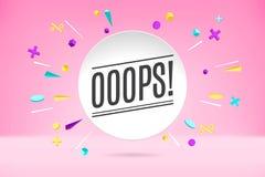 Nuage de bulle de livre blanc avec le texte Ooops pour l'émotion, motivation, conception positive Affiche avec l'entretien de nua photo libre de droits