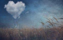Nuage de coeur au-dessus de grunge de champ texturisé Photographie stock