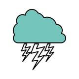 nuage de couleur avec l'icône de rayon Photo stock