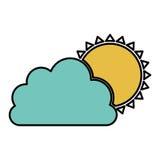 nuage de couleur avec l'icône du soleil Image stock