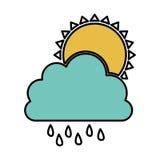 nuage de couleur rainning avec l'icône du soleil Photos libres de droits