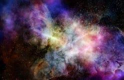 Nuage de gaz de nébuleuse dans l'espace extra-atmosphérique profond illustration libre de droits