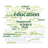 Nuage de liste de mots au sujet d'école et d'éducation Photo libre de droits
