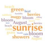 Nuage de liste de mots au sujet de saison d'été Images stock
