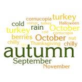 Nuage de liste de mots au sujet de saison d'automne Photographie stock libre de droits