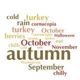 Nuage de liste de mots au sujet de saison d'automne Photos libres de droits