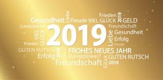 nuage de mot avec des salutations de la nouvelle année 2019 illustration libre de droits