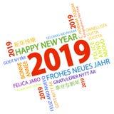nuage de mot avec des salutations de la nouvelle année 2019 illustration de vecteur