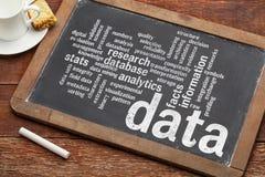Nuage de mot contenant des données sur le tableau noir Images stock