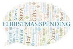 Nuage de mot de dépense de Noël illustration libre de droits