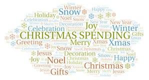 Nuage de mot de dépense de Noël illustration stock