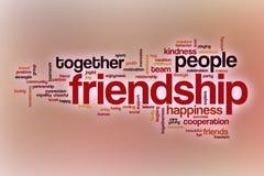 Nuage de mot d'amitié avec le fond abstrait Images libres de droits